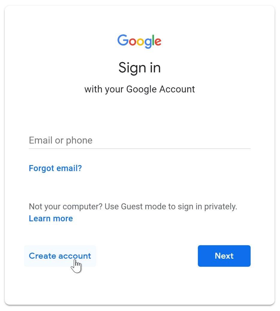 بر روی ساخت حساب ایمیل کلیک کنید - چیکاو