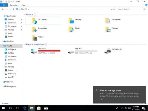 رفع مشکل پر شدن درایو C در ویندوز 10 - چیکاو