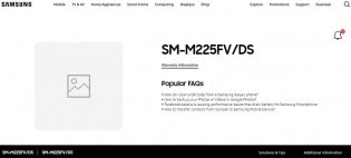 مشخصات گوشی گلکسی ام 22 در صفحات SM-M225FV/DS - چیکاو